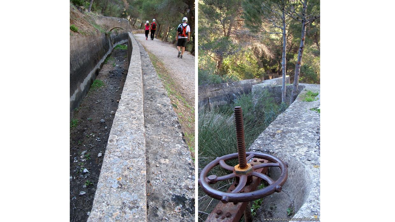 Caminito del Rey canal de agua y compuerta