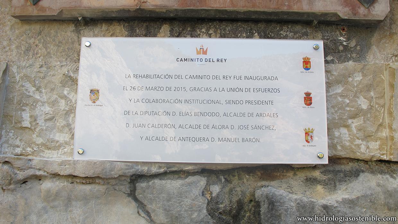 Caminito del Rey placa inauguración