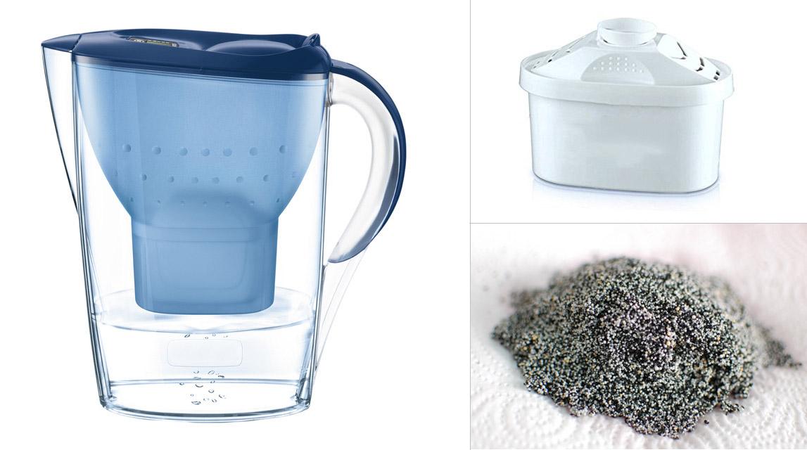 bcec27ce36702 Jarra filtradora, recambio de filtro y contenido del filtro (carbón activo  + resina)